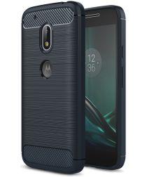 Geborsteld Motorola Moto G4 Play Hoesje Blauw