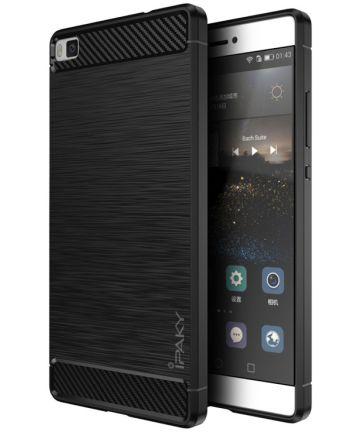 IPAKY Geborsteld TPU Hoesje Huawei Ascend P8 Lite Zwart