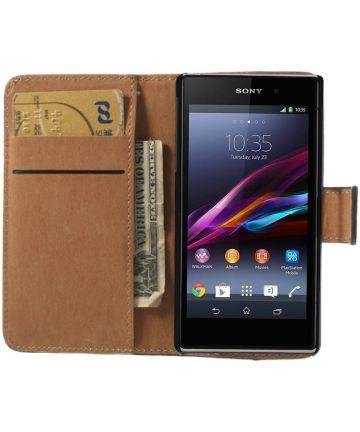 Sony Xperia Z1 Compact Portemonnee Hoesje Zwart