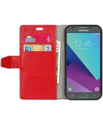 Samsung Galaxy J3 (2017) Portemonnee Hoesje Lychee Rood