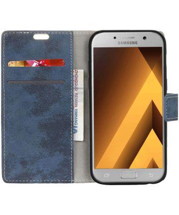 Samsung Galaxy A5 (2017) Retro Portemonnee Hoesje Blauw