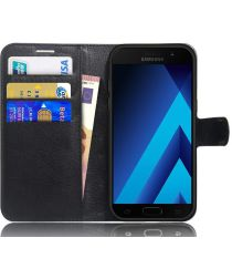 Samsung Galaxy A5 (2017) Portemonnee Hoesje Litchi Zwart