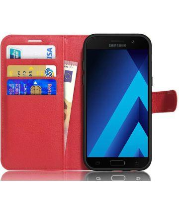 Samsung Galaxy A5 (2017) Portemonnee Hoesje Litchi Rood
