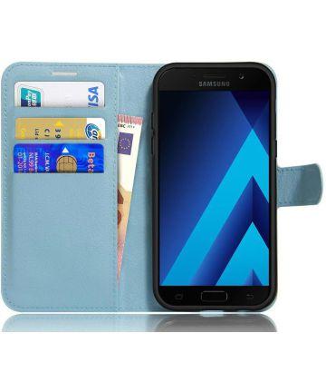 Samsung Galaxy A5 (2017) Portemonnee Hoesje Litchi Blauw