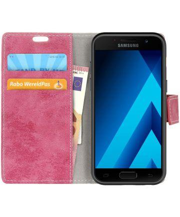 Vintage Samsung Galaxy A3 2017 Bookcase Hoesje Roze