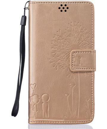 Samsung Galaxy J5 (2016) Wallet Bloem Hoesje Goud