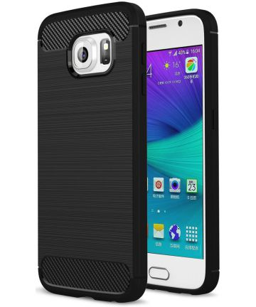 Samsung Galaxy S6 Geborsteld TPU Hoesje Zwart Hoesjes