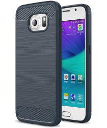 Samsung Galaxy S6 Geborsteld TPU Hoesje Blauw