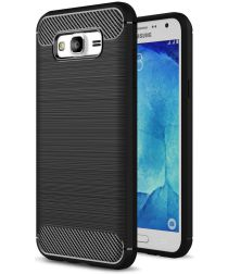 Samsung Galaxy J5 Geborsteld TPU Hoesje Zwart