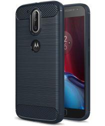 Geborsteld Motorola Moto G4 Hoesje Blauw