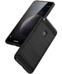 Huawei P8 Lite (2017) Geborsteld TPU Hoesje Zwart