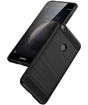 Huawei P8 Lite (2017) Geborsteld TPU Hoesje Zwart Hoesjes