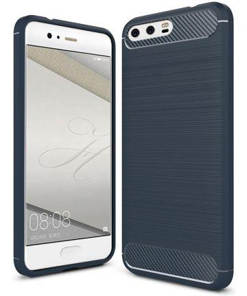 Huawei P10 Geborsteld TPU Hoesje Donker Blauw