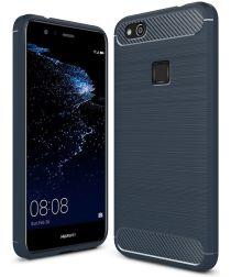 Huawei P10 Lite Geborsteld TPU Hoesje Blauw