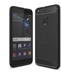Huawei P10 Lite Geborsteld TPU Hoesje Zwart