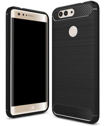 Huawei P10 Plus Geborsteld TPU Hoesje Zwart