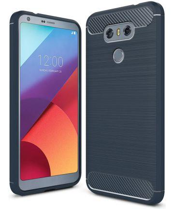 LG G6 Geborsteld TPU Hoesje Blauw