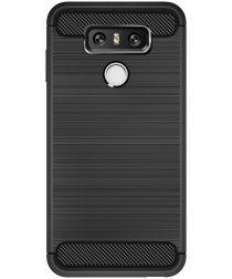 LG G6 Geborsteld TPU Hoesje Zwart