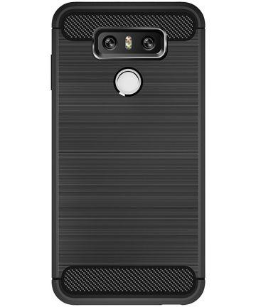 LG G6 Geborsteld TPU Hoesje Zwart Hoesjes