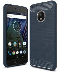 Motorola Moto G5 Geborsteld TPU Hoesje Blauw