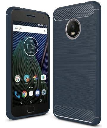 Motorola Moto G5 Geborsteld TPU Hoesje Blauw Hoesjes