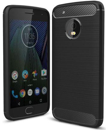 Motorola Moto G5 Geborsteld TPU Hoesje Zwart