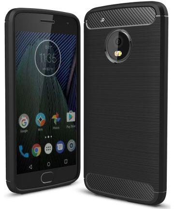 Motorola Moto G5 Plus Geborsteld TPU Hoesje Zwart Hoesjes