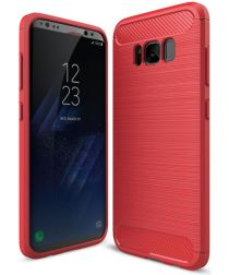 Samsung Galaxy S8 Geborsteld TPU Hoesje Rood