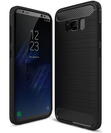 Samsung Galaxy S8 Plus Geborsteld TPU Hoesje Zwart Hoesjes