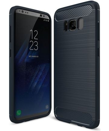 Samsung Galaxy S8 Plus Geborsteld TPU Hoesje Blauw