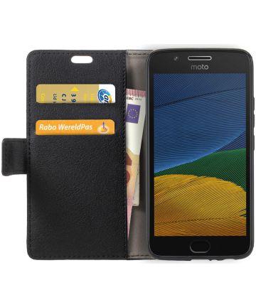 Motorola Moto G5 Hoesje BookCase Met Stand Zwart Hoesjes