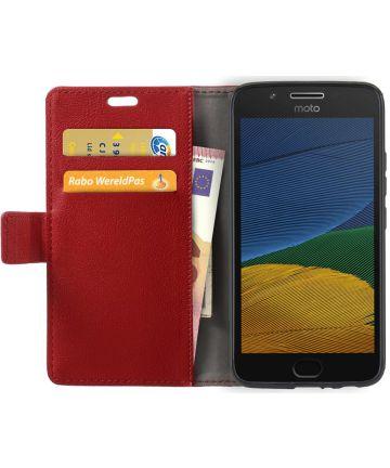 Motorola Moto G5 Hoesje BookCase Met Stand Rood