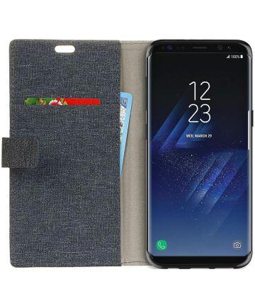 Samsung Galaxy S8 Plus Linnen Portemonnee Hoesje Donker Blauw