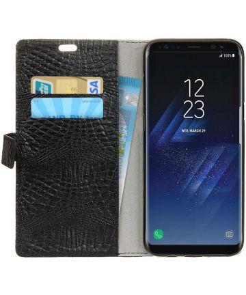 Samsung Galaxy S8 Krokodil Flipcase Zwart