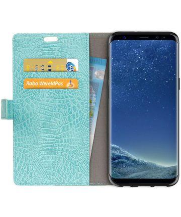 Samsung Galaxy S8 Krokodil Flipcase Blauw