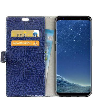 Samsung Galaxy S8 Krokodil Flipcase Donker Blauw Hoesjes