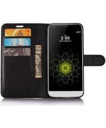 LG G6 Portemonnee Hoesje Lychee Zwart