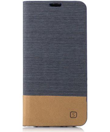 Samsung Galaxy A5 (2017) Linnen Portemonnee Hoesje Donkergrijs