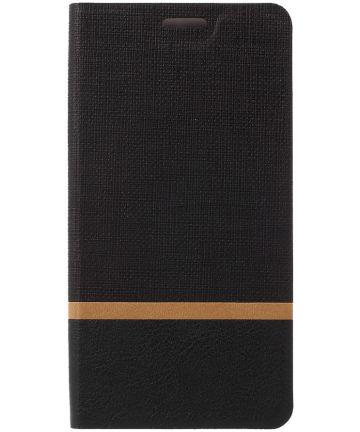 HTC U Play Portemonnee Stripe Hoesje Zwart