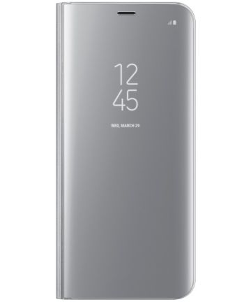 Samsung Galaxy S8 Plus Clear View Flip Case met Standaard Zilver