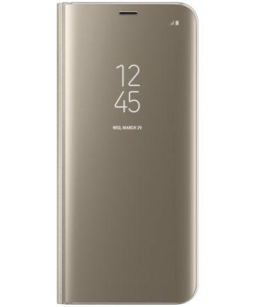 Samsung Galaxy S8 Plus Clear View Flip Case met Standaard Goud Hoesjes