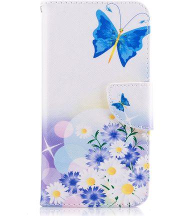 Huawei P10 Lite Portemonnee Hoesje Blauwe Vlinders Hoesjes
