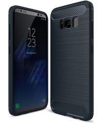 Samsung Galaxy S8 Geborsteld TPU Hoesje Donker Blauw