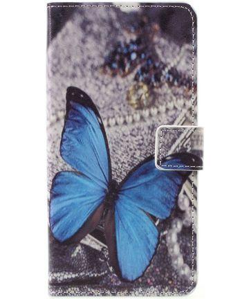 LG K10 (2017) Portemonnee Hoesje Blue Butterflies Hoesjes