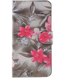 Huawei P10 Lite Portemonnee Hoesje Red Flowers