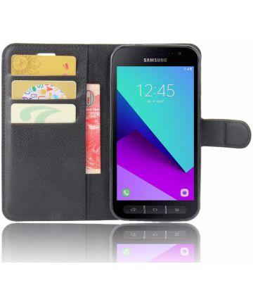 Samsung Galaxy Xcover 4/4s Lychee Portemonnee Hoesje Zwart