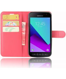 Samsung Galaxy Xcover 4/4s Lychee Portemonnee Hoesje Rood