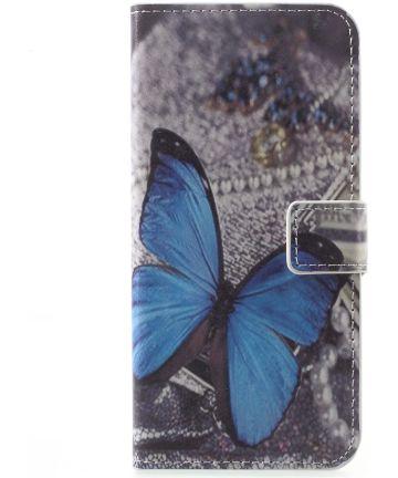 Motorola Moto G5 Plus Portemonnee Hoesje Blauwe Vlinder Hoesjes