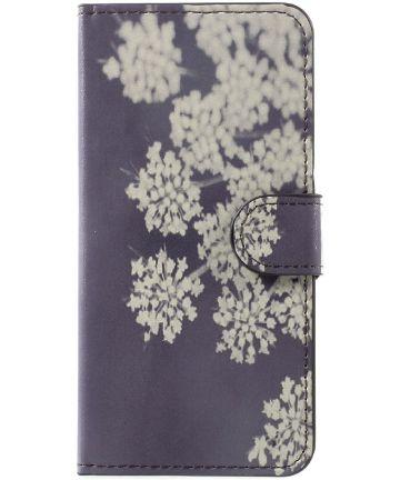 Huawei P10 Portemonnee Print Hoesje White Flowers