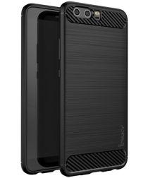 IPAKY Geborsteld TPU Hoesje Huawei P10 Zwart